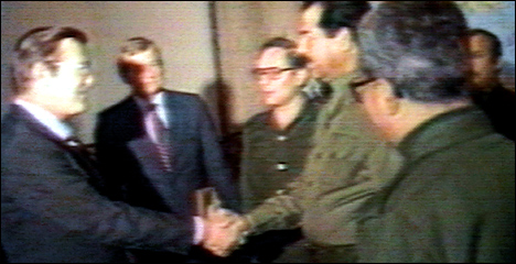 Who's that guy shaking hands with Don Rumsfeld?  Was this footage shot on Rumsfeld's first trip to Baghdad, Dec. 19-20, 1983?  Or was it on his second visit, March 24, 1984, the VERY SAME DAY that Iraq was using mustard gas and Tabun in its war with Iran?